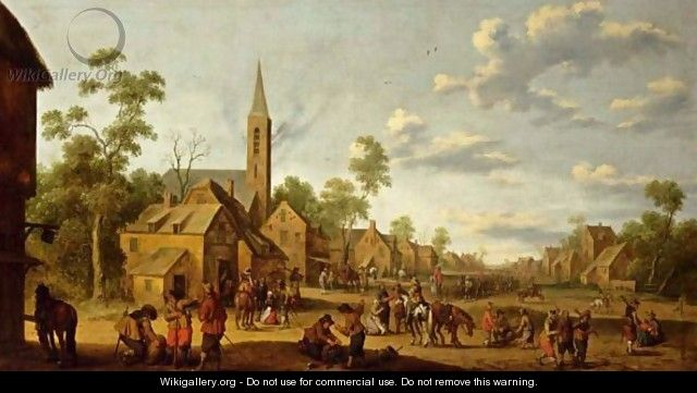A Street Scene With Soldiers Overtaking The Village - Joost Cornelisz. Droochsloot