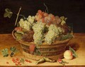 A Still Life With Blue And White Grapes In A Basket, Together With Red Currants, Hazelnuts And A Peach, All On A Wooden Ledge - (after) Isaak Soreau