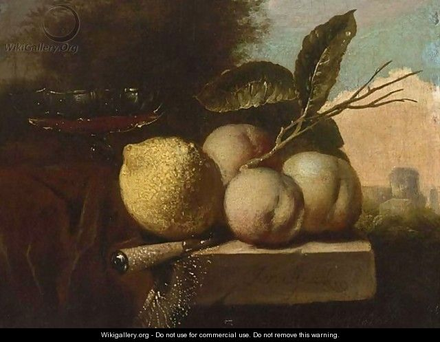 A Still Life Of A Lemon, Peaches, A Venetian Glass And A Knife, All On A Stone Ledge Draped With A Red Cloth, In A Landscape - Juriaan Van Streek
