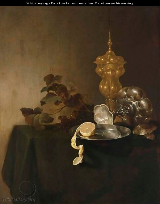 A Still Life Of A Tazza, A Peeled Lemon On A Pewter Plate, A Silver-Gilt Cup With Cover And Grapes - Jan Davidsz. De Heem
