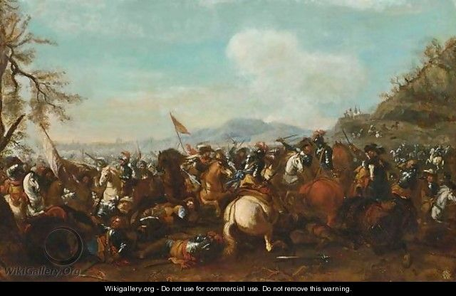 A Cavalry Battle Scene - (after) Jacques (Le Bourguignon) Courtois