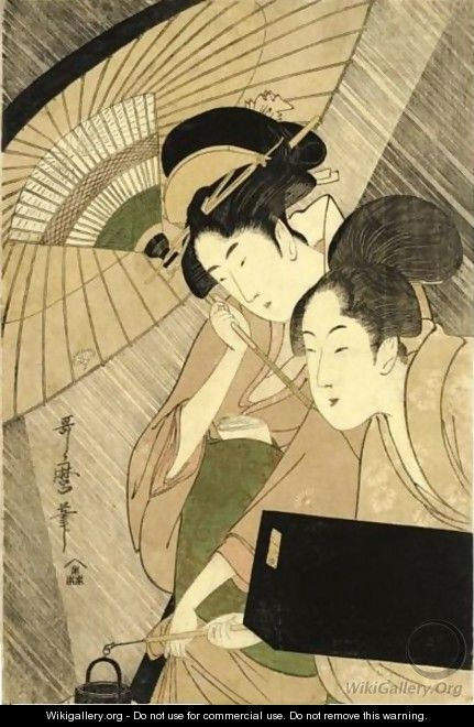 Geisha And Attendant On A Rainy Night - Kitagawa Utamaro