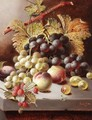 Still Life With Peaches, Grapes And Raspberries - Oliver Clare