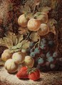 Still Life With Plums, Grapes And Strawberries - Oliver Clare