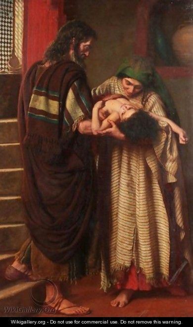 Elijah And The Widow Of Zarephath - And Elijah Took The Child, And Brought Him Down Out Of The Chamber Into The House - John Bates Bedford
