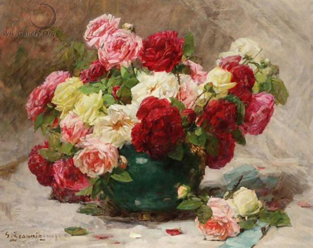 Still Life Of Roses In A Vase - Georges Jeannin