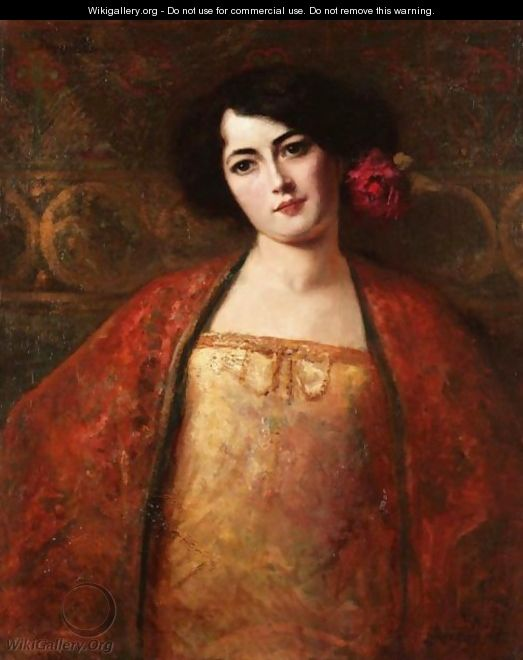 Portrait Of A Lady In A Red Shawl - Benjamin Jean Joseph Constant