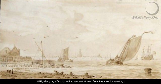 Fishing Boats And Merchant Ships On The Ij Before Amsterdam - Pieter Jansz. Coopse