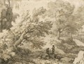 Wooded Landscape With Two Figures Resting By Rocks - Allaert van Everdingen
