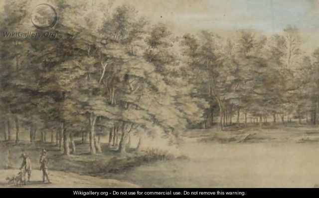 Wooded Landscape With Two Men Hawking By A Pond - Lucas Van Uden