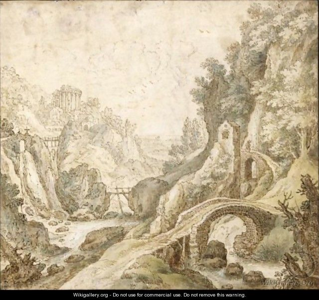 An Italianate River Landscape, With Rustic Stone Bridges In The Foreground, And A Temple In The Distance - (after) Joos De Momper