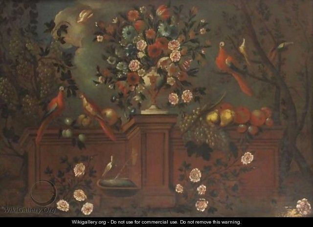 Still Life With Flowers, Birds And Fruit - Spanish School