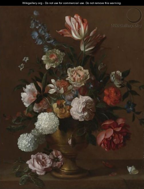 Still Life Of Flowers In A Vase - (after) Jacob Bogdani