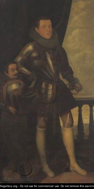 Portrait Of A Gentleman And A Dwarf - Spanish School