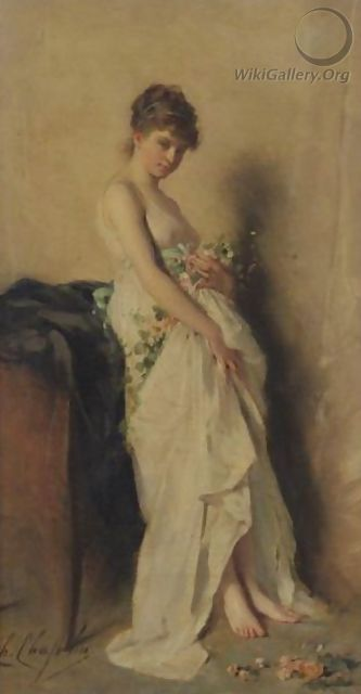 Girl With Garland Of Flowers - Charles Chaplin