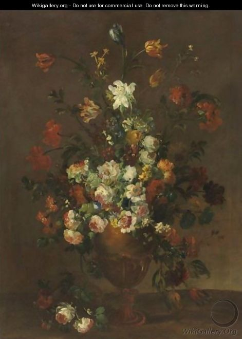 Still Life With Flowers In An Urn - French School
