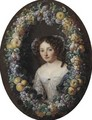 Portrait Of A Lady, Half Length, Framed By A Wreath Of Grapes, Apples And Plums - Jacob Ferdinand Voet