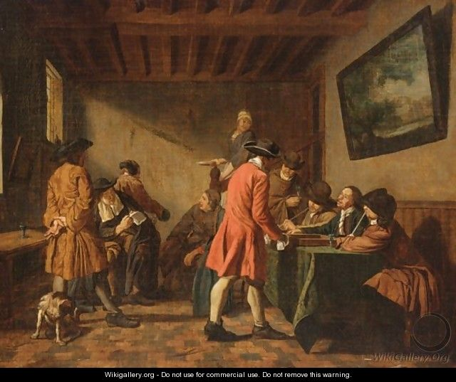 Elegant Figures In An Interior Playing Tric-Trac - Jan Jozef, the Younger Horemans