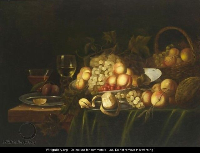 A Still Life With Peaches, Grapes, A Peeled Lemon, Strawberries And A Roemer, All On A Draped Table - Flemish School
