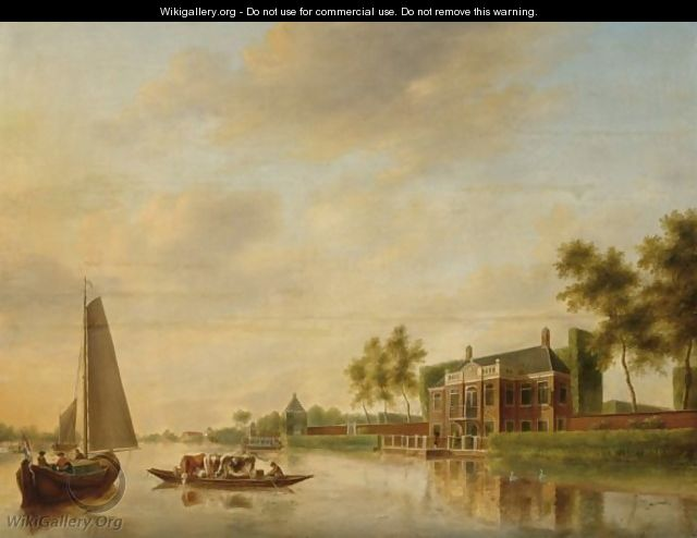A River Landscape Near Leiden With A Sailingboat And A Rowing Boat Transporting Cattle To A Mansion - Johannes Janson