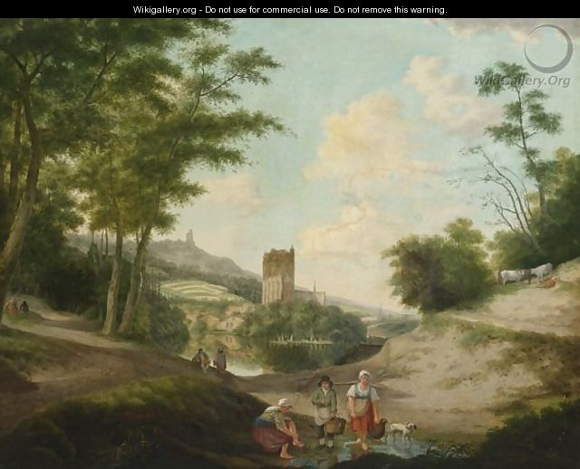 Washerwomen In A River Landscape, A Ruin Of A Cathedral Beyond - German School