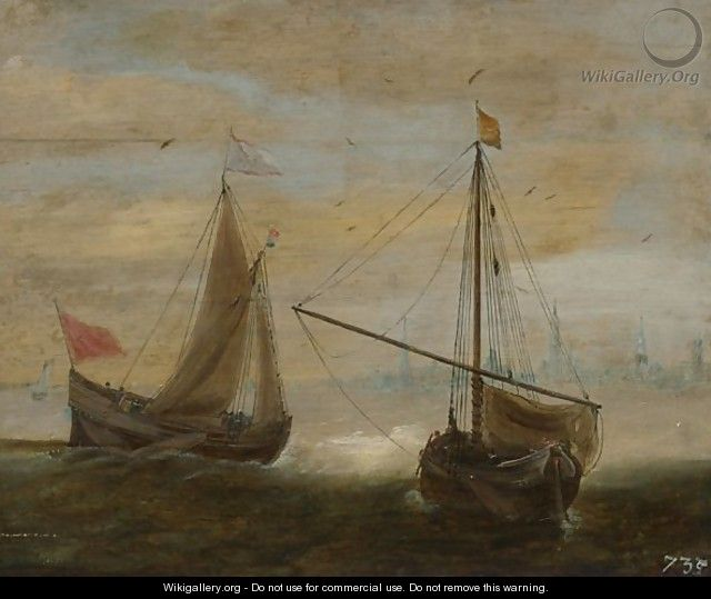 Two Small Ships In Front Of A Dutch Town - (after) Hans Goderis