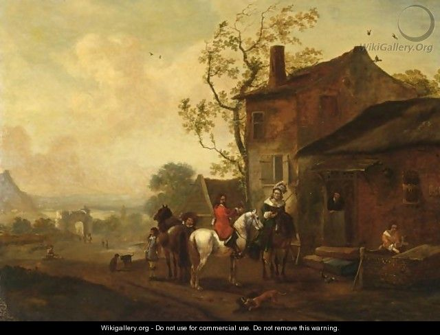 An Elegant Hunting Party Near An Inn - (after) Philips Wouwerman