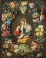 The Madonna And Child Surrounded By A Garland Of Different Flowers And Fruits - (after) Phillipe De Marlier