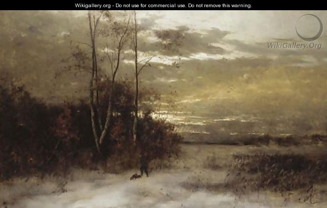 Winter Landscape With Huntsman And Dogs - Arvid Mauritz Lindstrom
