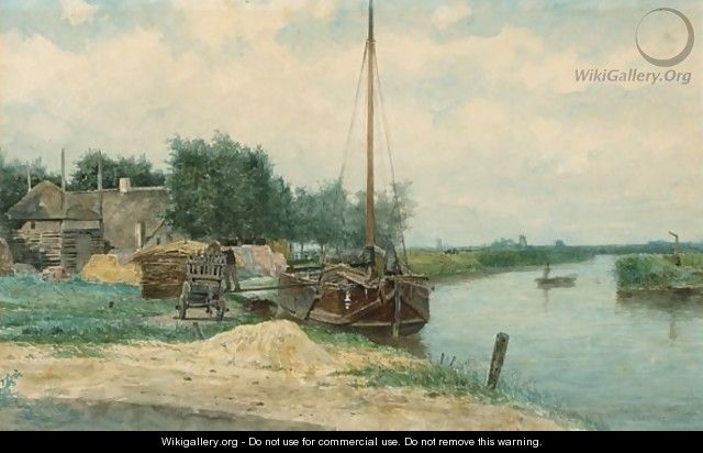 Moored Boats On The Eem, Baarn - Johan Conrad Greive
