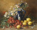 A Still Life With Lemons, Strawberries And Flowers - Hubert Bellis