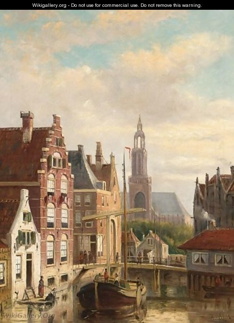 A Townview With A Barge On The Canal - Johannes Frederik Hulk