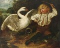 The Young Angler Surprised By A Swan - English School