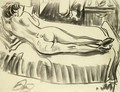 Reclining Nude From Behind, On A Sofa - Ernst Ludwig Kirchner