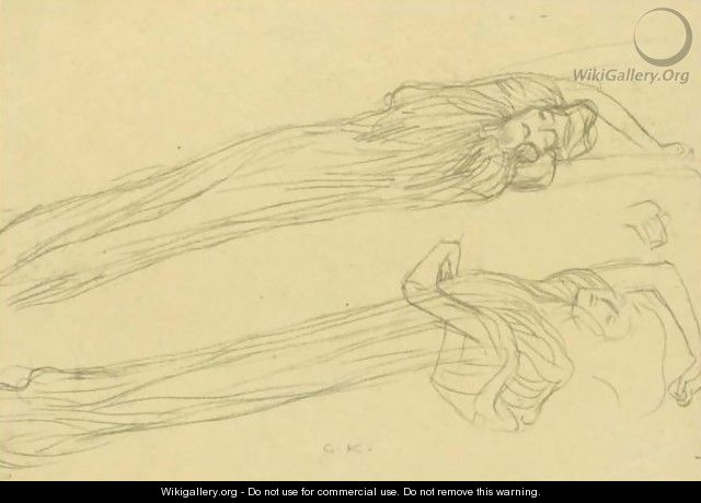 Two Studies Of A Floating Draped Figure To The Right - Gustav Klimt