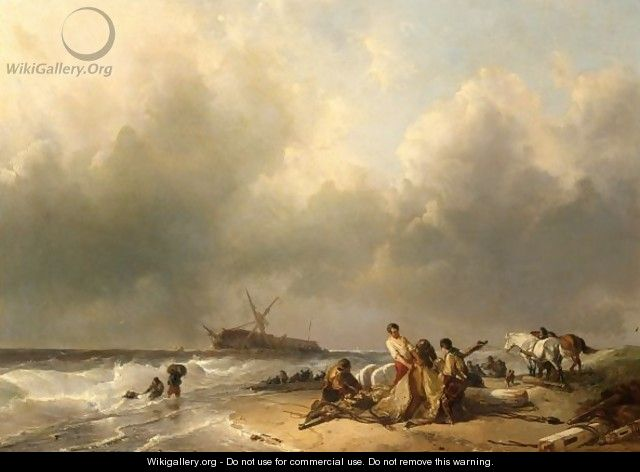 Figures On The Beach, A Schip Wreck In The Breakers - Charles Rochussen