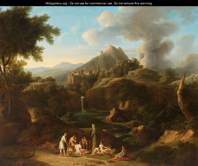 Figures In An Italianate Landscape - Italian School