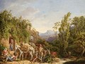 Travellers And Their Animals Resting Near A Ruin In An Italianate Landscape - German School