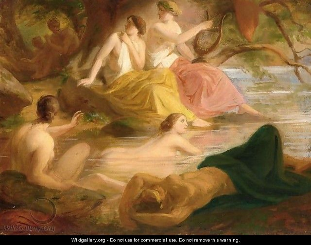 Nymphs Bathing With A Satyr Watching In The Background - German School