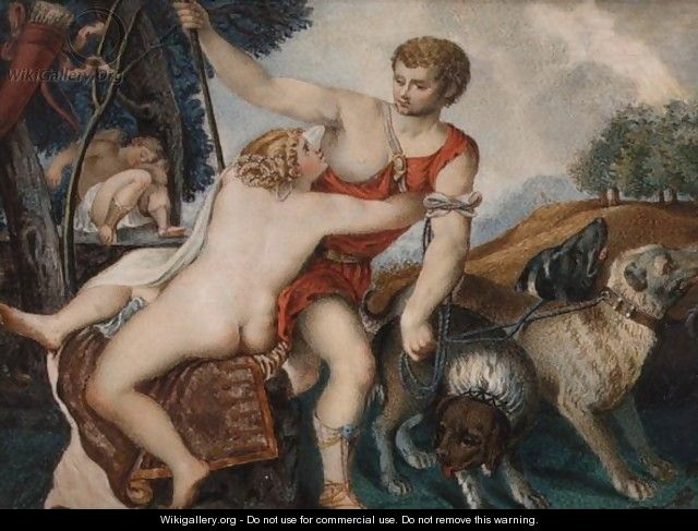 Venus And Adonis - (after) Tiziano Vecellio (Titian)
