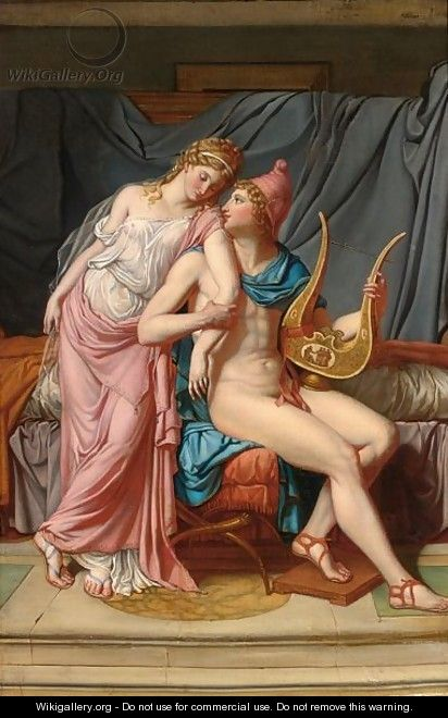 Paris And Helena Courting - (after) David, Jacques Louis