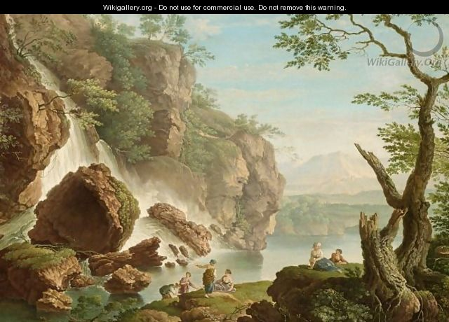 Bathers Near A Waterfall - French School
