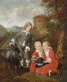 A Boy With A Goat And Twins In A Forest Landscape With A View Of A Formal Garden Beyond, Said To Be The Children Of Graf Hochberg - Johann Heinrich Roos