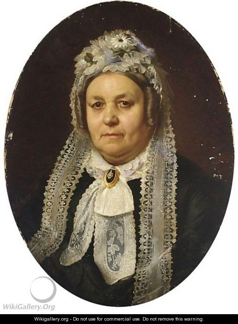 Portrait Of A Woman Wearing A Black Dress And A Lace Cap - German School