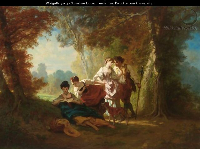 A Pastoral Scene In A Wooded Landscape - French School