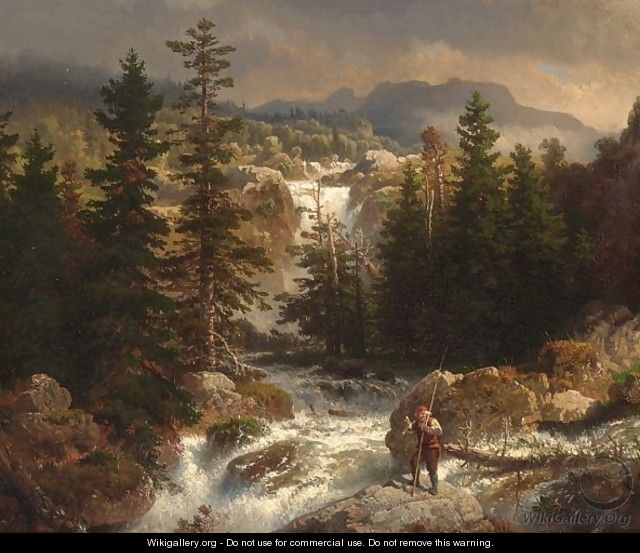 A Fisherman Inspecting His Catch Near A Mountain Torrent - Andreas Achenbach
