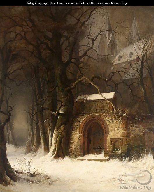 View Of A Church-Yard Entrance In Winter - Edmund Koken