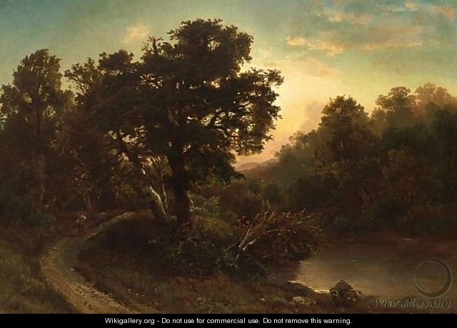 A Traveller In A Wooded Landscape - August Weber