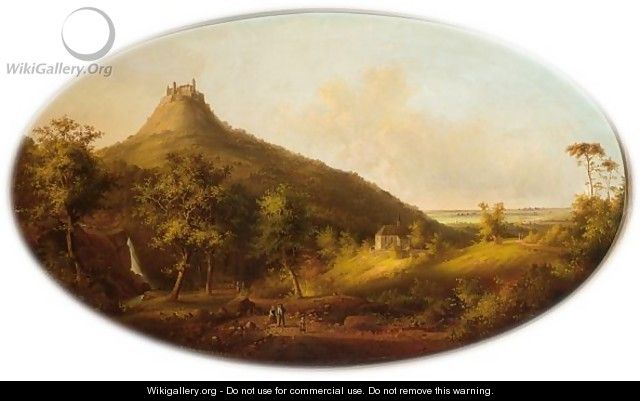 Figures On A Country Road, Castle Hohenzollern In The Background - Carl Fedeler