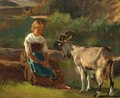 A Little Girl With A Goat - German School